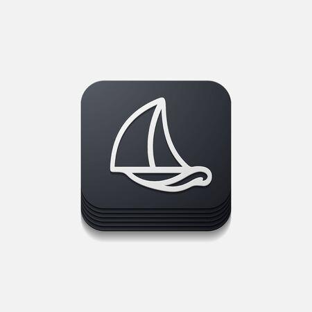 keel: square button: sailboat Illustration