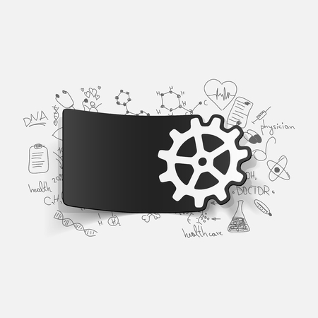 Drawing medical formulas: cogwheel Vector