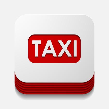 taxista: bot�n cuadrado: Taxi Vectores