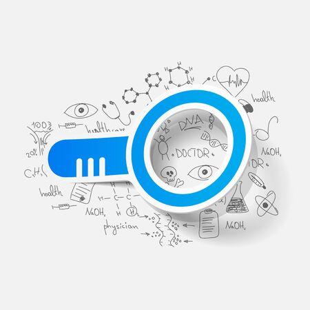 Drawing medical formulas: magnifier Vector
