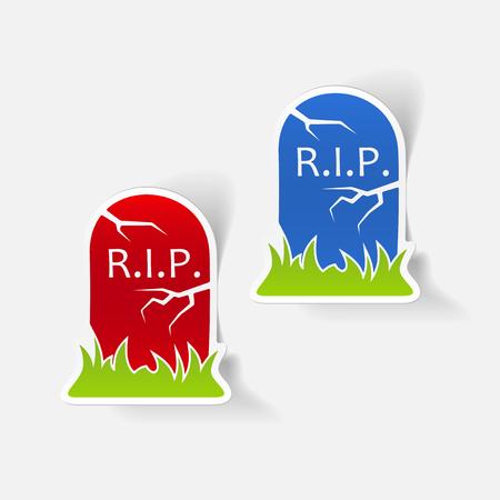 realistic design element: tombstone Illustration