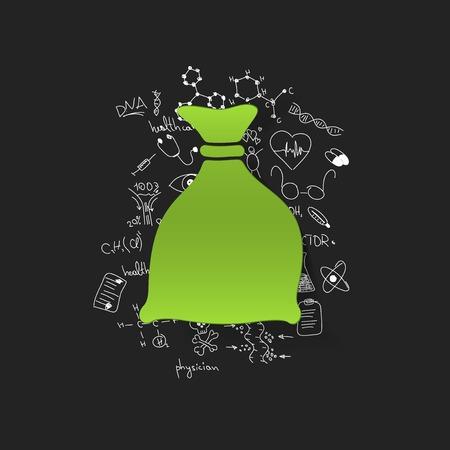 burlap bag: Drawing medical formulas: sack Illustration