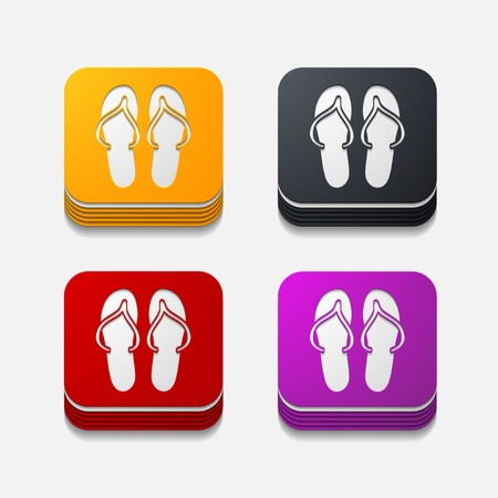 square button: slippers Illustration