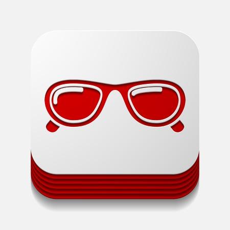 myopia: square button: sunglasses Illustration
