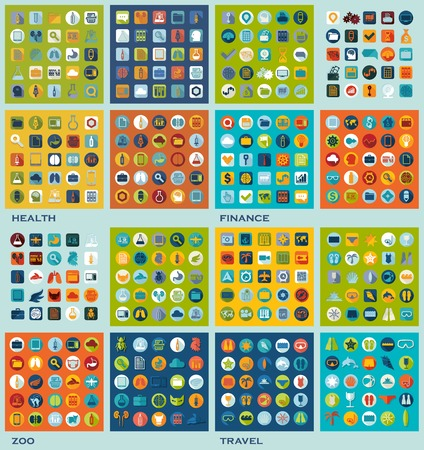 set of flat icons: health, finance, zoo, travel