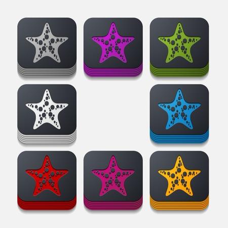 starlike: square button: starfish