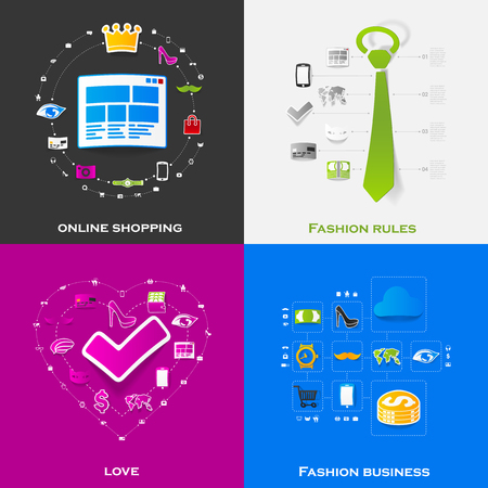 Set of modern stickers. Fashion Vector