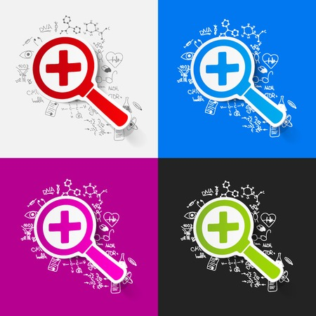 Drawing medical formulas: magnifier Stock Vector - 30157922