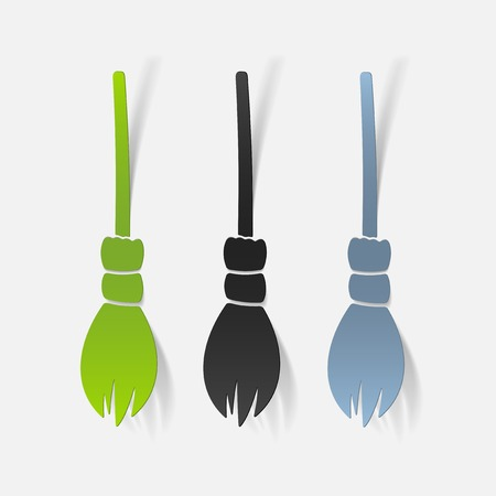 besom: realistic design element: witch broom