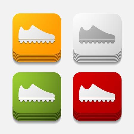 square button: sneakers Vector