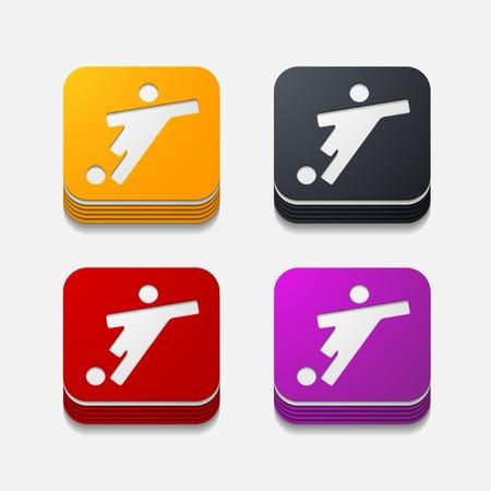 striker: square button: football player Illustration