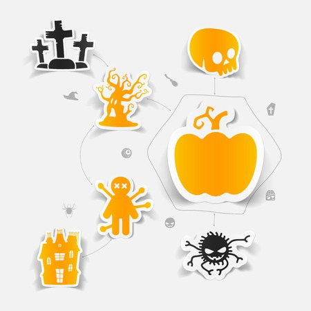 Voodoo doll: Halloween sticker concept Illustration