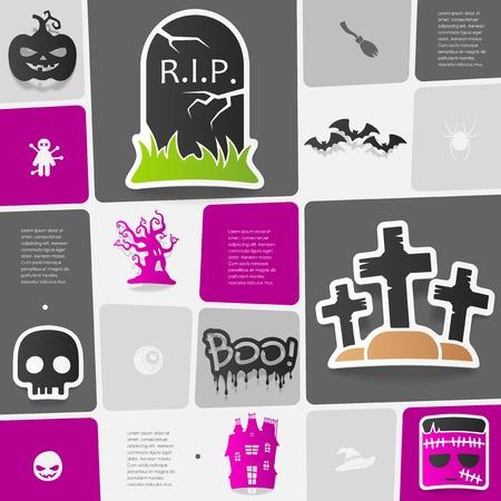 Halloween flat infographic Vector