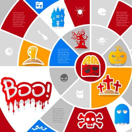 Halloween sticker infographic Vector