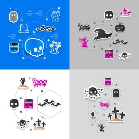 Halloween sticker concept Vector