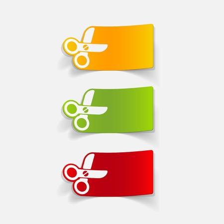 cutting sticker: realistic design element: scissors Illustration