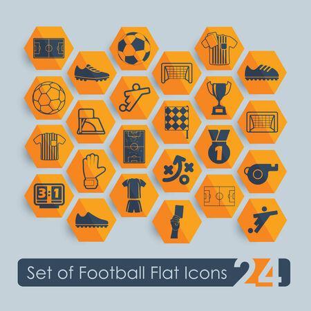 penalty flag: Set of football flat icons