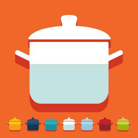 saucepan: Flat design: saucepan Illustration