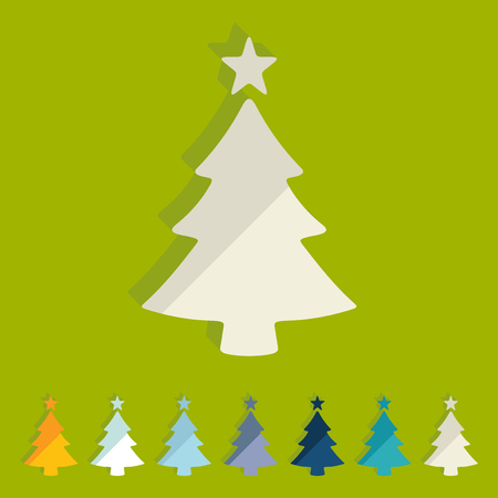 bright christmas tree: Flat design: christmas tree