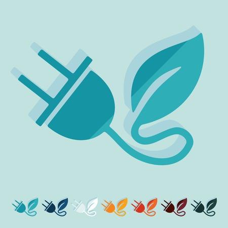 ecological adaptation: Flat design: eco plug leaf