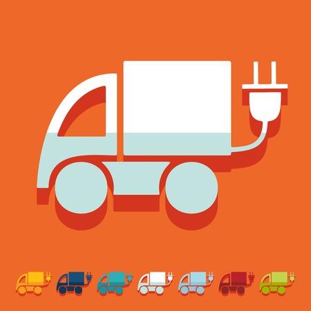 eco car: Dise�o plano: coche ecol�gico Vectores