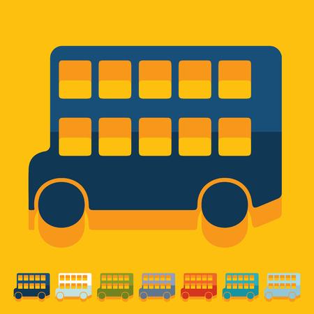 decker: Flat design: bus double decker