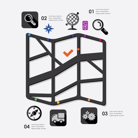 coordinates: navigation infographic Illustration