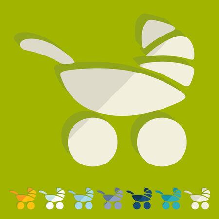 Flat design: baby buggy Vector