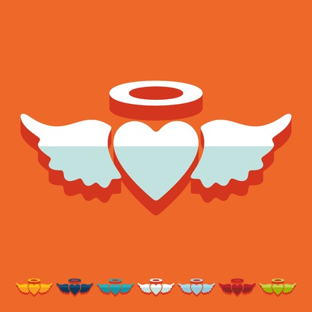heart and wings: Flat design: heart angel