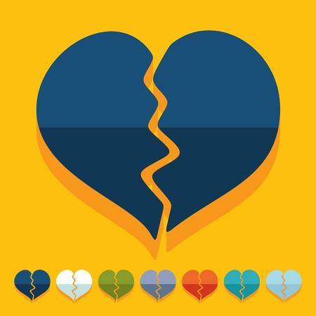 corazon roto: Dise�o plano: coraz�n roto Vectores