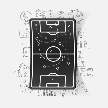 tactics: Drawing business formulas: playing field, tactics Illustration