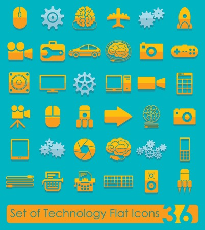 complex system: Set of technology flat icons