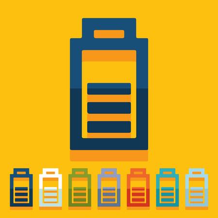 lading: Platte ontwerp: de batterij opladen Stock Illustratie