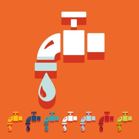 water tap: Flat design: water tap