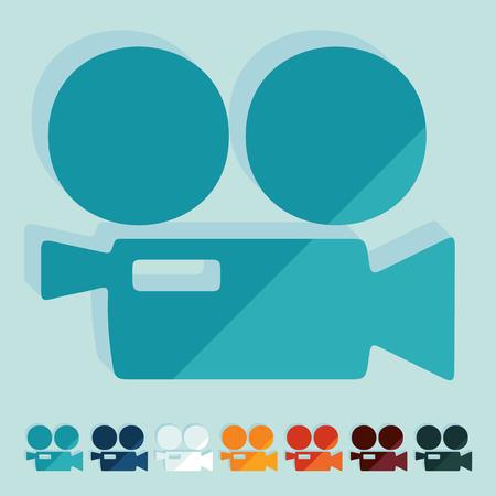 camara de cine: Dise�o plano: C�mara de pel�cula Vectores
