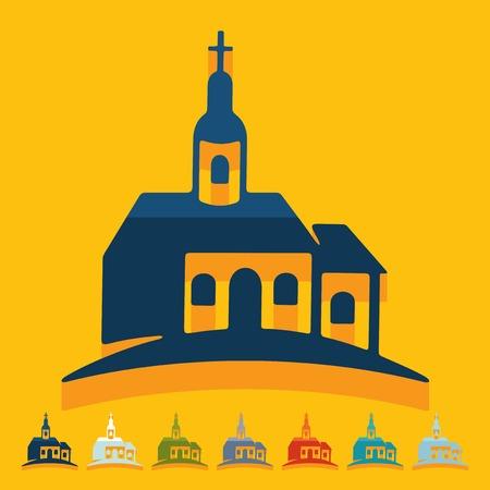 solemn: Flat design: church Illustration