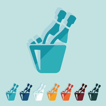 popping cork: Flat design: champagne Illustration