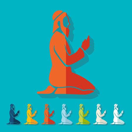 muslim prayer: Flat design: muslim