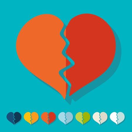 seducer: Flat design: broken heart Illustration