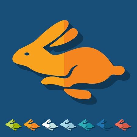 coniglio di pasqua: Design piatto: Coniglio di Pasqua Vettoriali