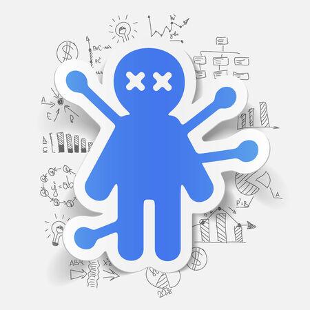 voodoo doll: Drawing business formulas: voodoo Doll Illustration