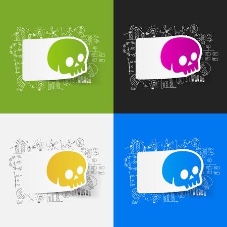 skull character: Drawing business formulas: skull Illustration