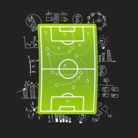 tactics: Drawing business formulas: playing field, tactics Illustration