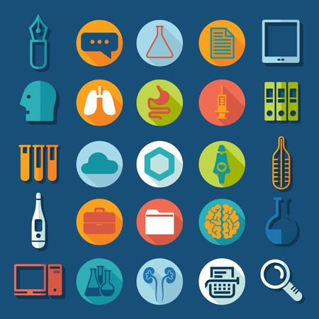 medical research: Set of medical flat icons