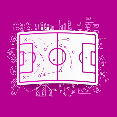 playing field: Drawing business formulas: playing field, tactics Illustration