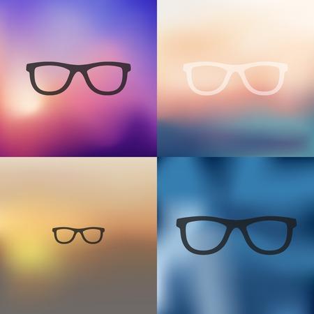 myopia: glasses icon on blurred background Illustration
