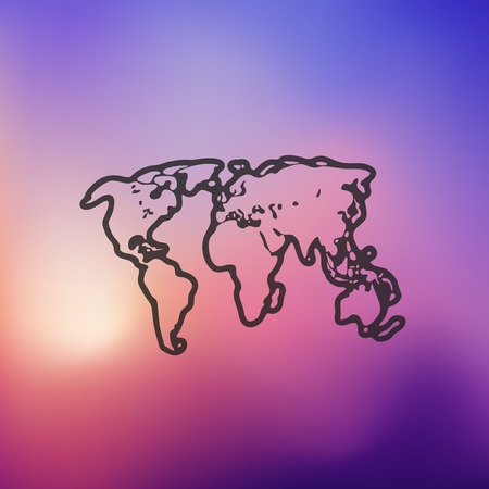 parallels: map icon on blurred background Illustration