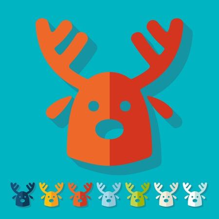 christmas deer: Flat design: christmas deer