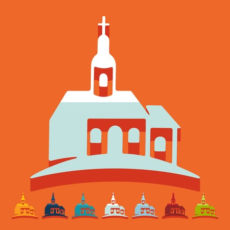 Flat design: church Иллюстрация