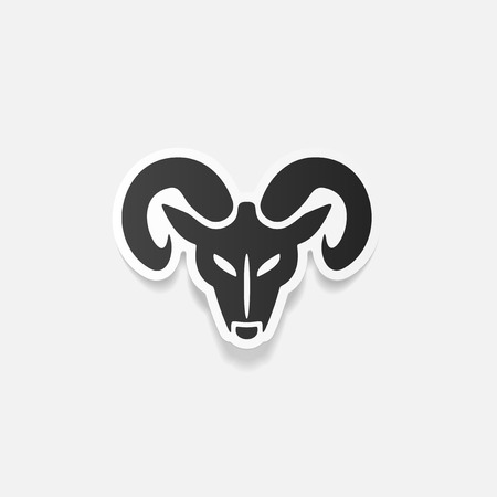 bighorn: realistic design element: head of the ram